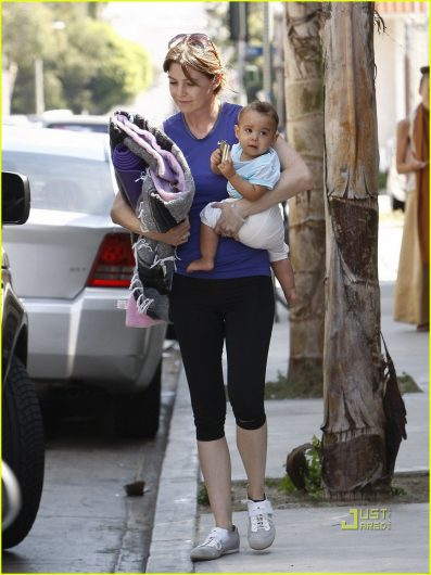 Ellen Pompeo and daughter Stella at Yoga class in Hollywood CA